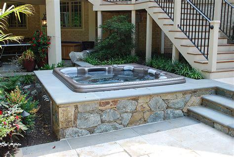 patio backyard jacuzzi landscaping ideas custom hot tubs