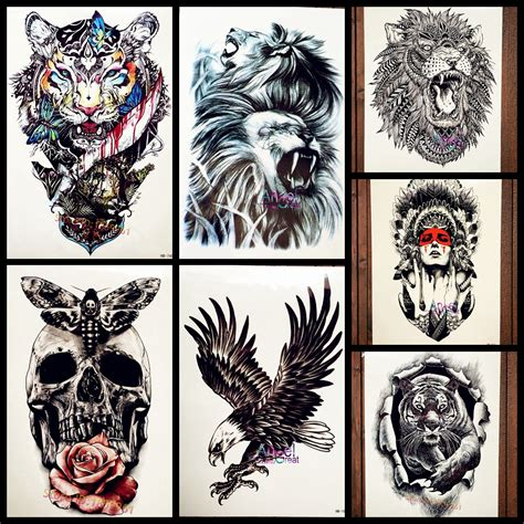 aliexpress com buy cool large lion head tattoo