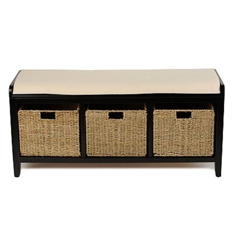 black storage bench with baskets kirklands black 3 basket storage bench customer reviews