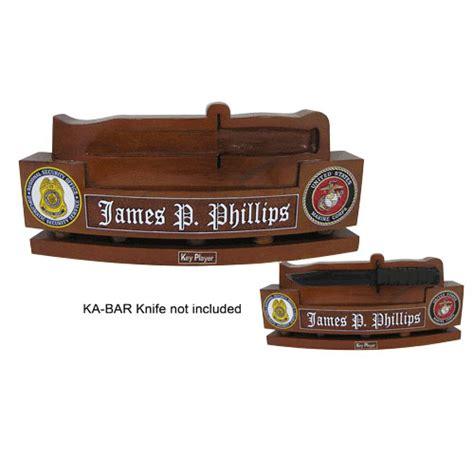 desk name plate holder wood hand carved desk name plate us marine corps ka bar knife