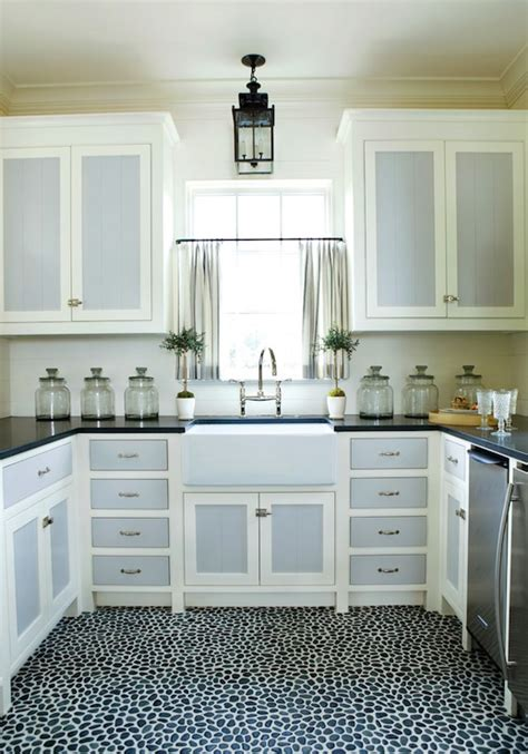 two tone painted kitchen cabinets pebble stone floor kitchen phoebe howard