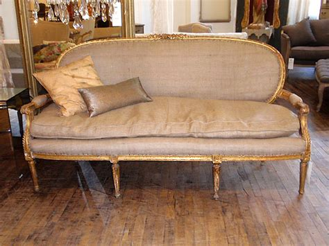 burlap couch vintage burlap sofa chair and pillow hudson goods blog