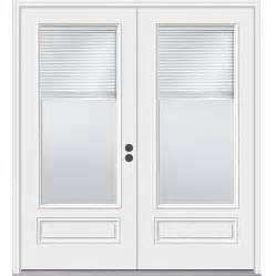 Jeld Wen Patio Doors With Blinds Shop Jeld Wen 71 5 In Blinds Between The Glass Composite Inswing Patio Door At Lowes