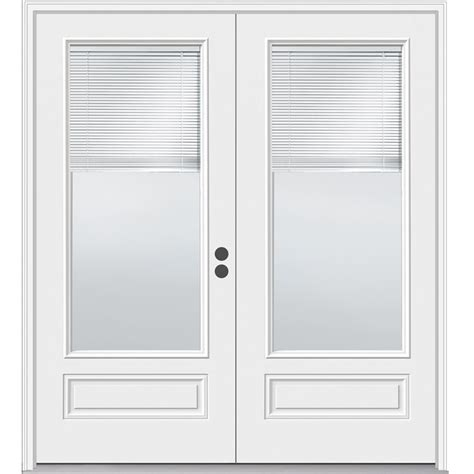 Jeld Wen Exterior Door Installation Shop Jeld Wen 71 5 In Blinds Between The Glass Composite Inswing Patio Door At Lowes