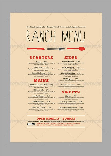 menu card templates ai psd docs pages  premium templates