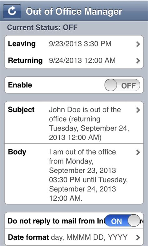 Set Out Of Office On Iphone by Out Of Office Xpages Web App For Ibm Notes Domino
