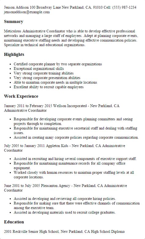 Administrative Coordinator Resume by Professional Administrative Coordinator Templates To