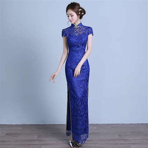 Dress Of The Day Golden Lace Qi Pao by Royal Blue Lace Modern Cheongsam Dress Qipao Dresses