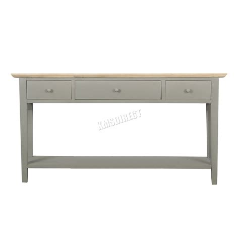 foxhunter console table 3 drawers wood hallway side