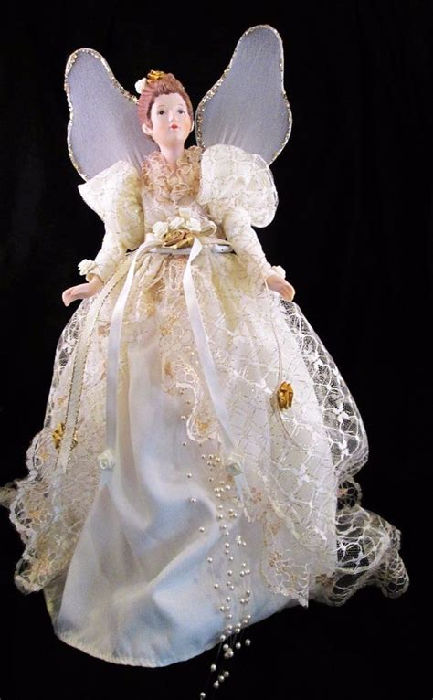 christmas tree topper angel porcelain head arms doll stand