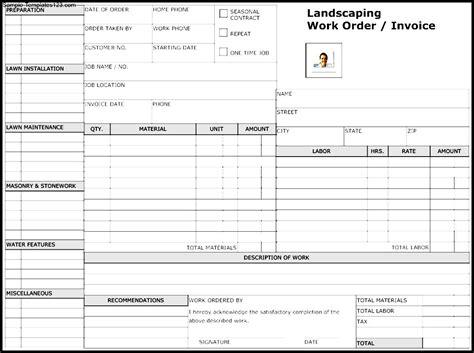 Landscape Work Order Forms Landscaping Work Order Form Template Sle Templates