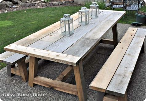 Diy Patio Table Plans Reclaimed Wood Outdoor Dining Table And Benches