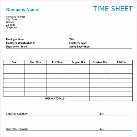 Filemaker Time Card Template Free by 6 Weekly Timesheet Template Excel Free