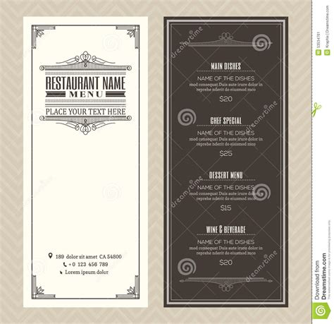 design menu vintage restaurant or cafe menu design template with vintage retro