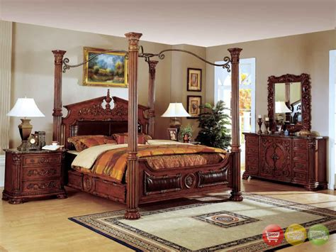 poster bedroom sets with canopy traditional canopy bed w leather bedroom set w marble