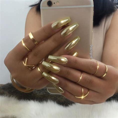chrome nails gold chrome nails coffin shape nails pinterest
