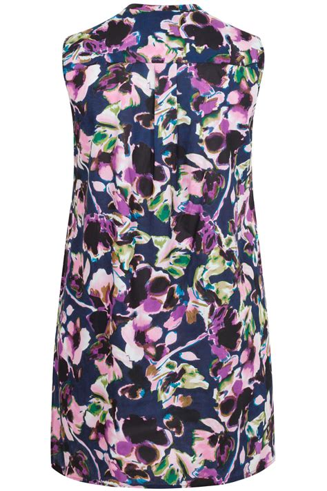 Flower Top Navy purple navy floral print sleeveless longline top plus size 16 to 32