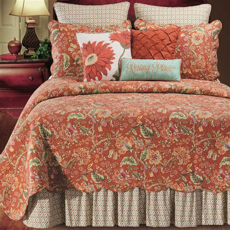 quilt comforter adele jacobean floral rust quilt bedding