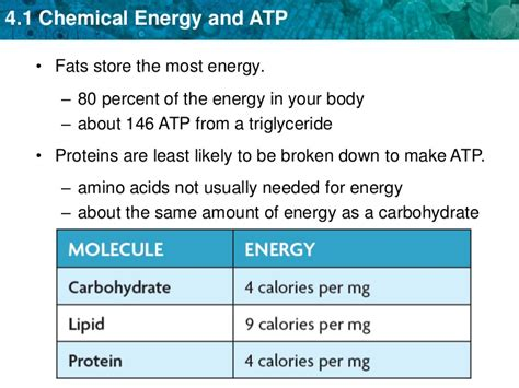 section 9 3 getting energy to make atp unit 4 chemical energy and atp