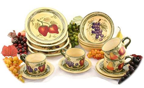 Tuscan Style Kitchen Canister Sets tuscan collection hand painted 16 piece dinnerware set