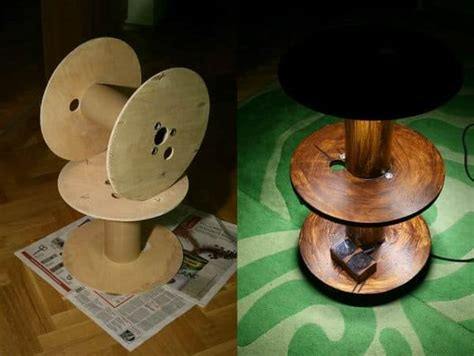 upcycled cable spool  table  led recyclart