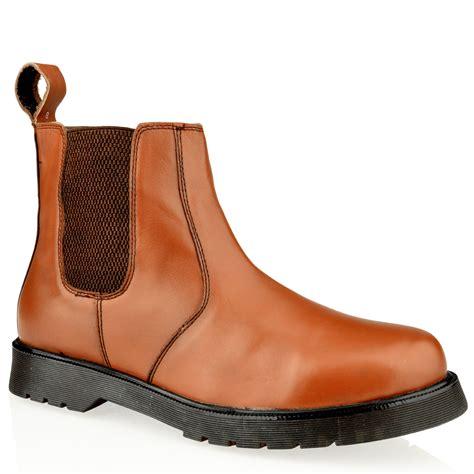mens leather slip pull on chelsea dealer gusset ankle