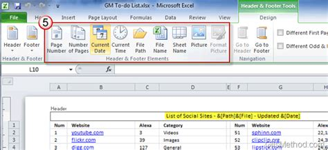 method of sections exle how to add a header and footer to excel 2010 spreadsheets