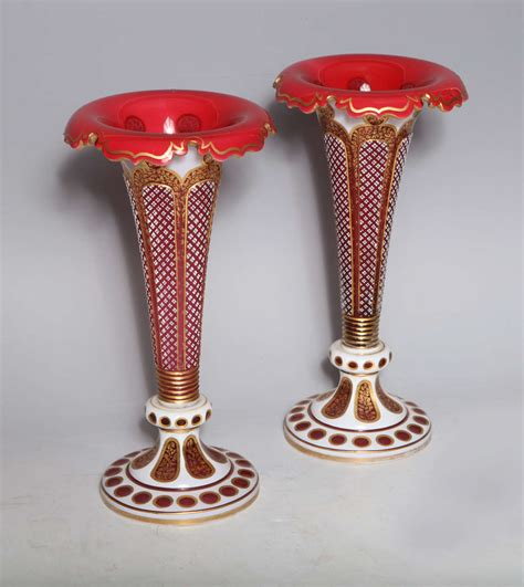 Bohemian Vases Prices by Pair Of Antique Bohemian Overlay Cut Glass Vases At