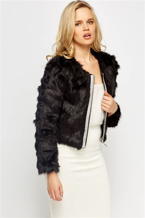 Cropped Fur Jackets by Encrusted Front Faux Fur Cropped Jacket Just 163 5