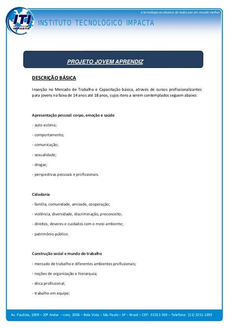 Modelo Curriculum Tecnologico Projeto Jovem Aprendiz Instituto Tecnol 243 Gico Impacta
