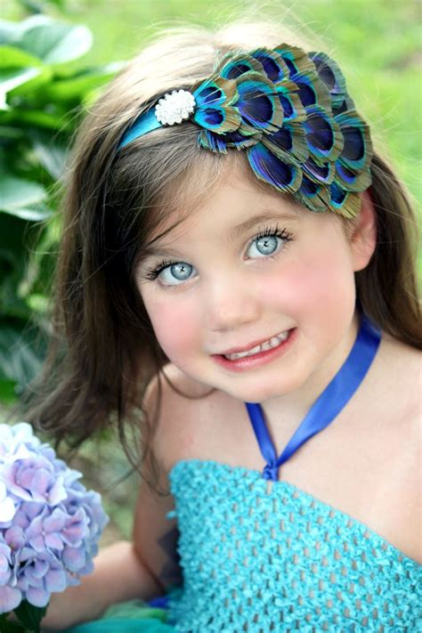 baby headband peacock feather silk flower and bow or rhinestone for i