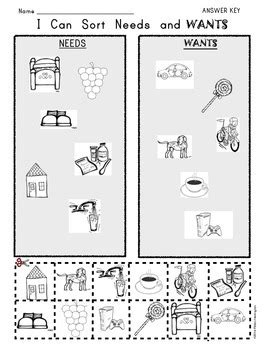 kindergarten activities needs and wants i can sort needs and wants picture worksheet by class of