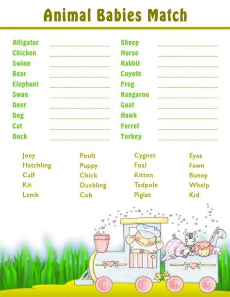 Printable Animal Babies Match Game | printable shower games baby animal matching game all
