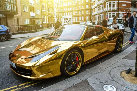 Luxury Life Design Chrome Gold Ferrari 458 Spider
