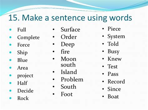 1000 most commonly used words - Rock The Boat In A Sentence
