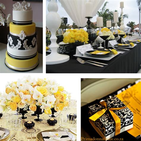 Yellow Black And White Wedding Decorations wedding colours and black primadonna