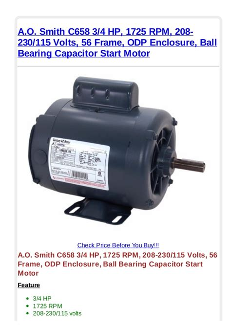 start capacitor for 1 4 hp motor a o smith c658 3 4 hp 1725 rpm 208 230 115 volts 56 frame odp enclos