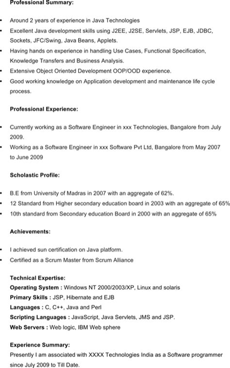 java resume format java developer resume template for free