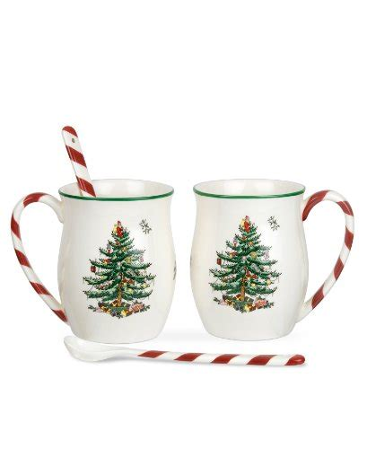 spode christmas tree candy cane handle mugs spode dinnerware set of 2 tree peppermint mugs with spoons mug tree