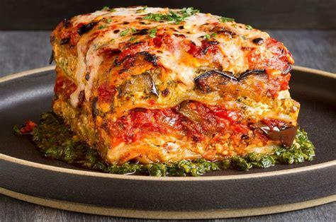 vegan grilled garden vegetable lasagna  puttanesca