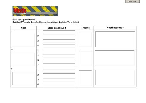 Smart Goal Setting Worksheet by 7 Best Images Of Smart Goal Setting Printable Worksheet
