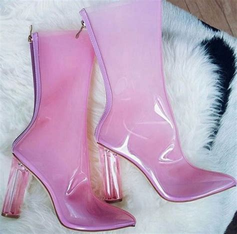 Home Interior App shoes clear transparent boots pink fiya ankle boots