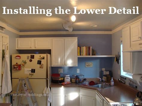 How To Put Up Crown Molding On Kitchen Cabinets Kitchen Crown Molding Installation Lower Detail The Of Moldings