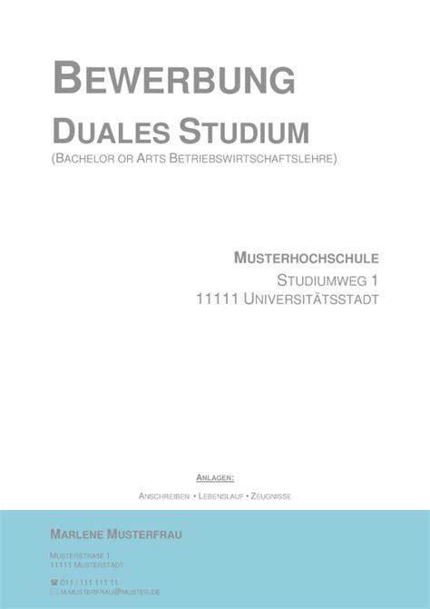 Bewerbung Duales Studium Deckblatt deckblatt in der bewerbung 252 ber 80 kostenlose muster