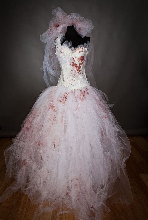 size medium bloody tulle burlesque prom dress zombie corpse killer bride with veil and gloves