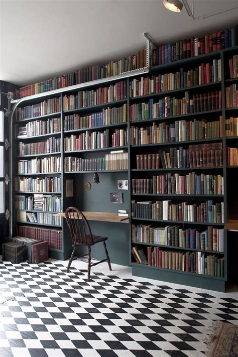 floor to ceiling bookcase with desk custom shelving checkerboard floor ceiling and desks