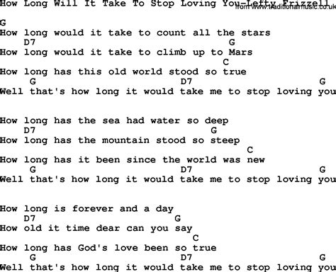 how long lyrics country music how long will it take to stop loving you