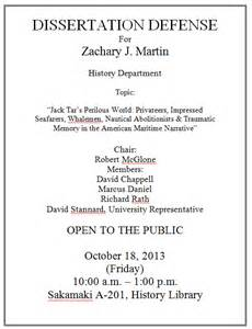Defense Dissertation History Is October 2013