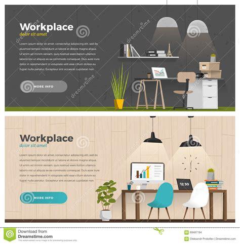 design banner office two banner for web design stock vector image 69487194