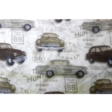 vintage cer curtains vintage car rally printed sheer curtain fabric by fabricmart